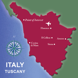 Tuscany Map Artist Travel